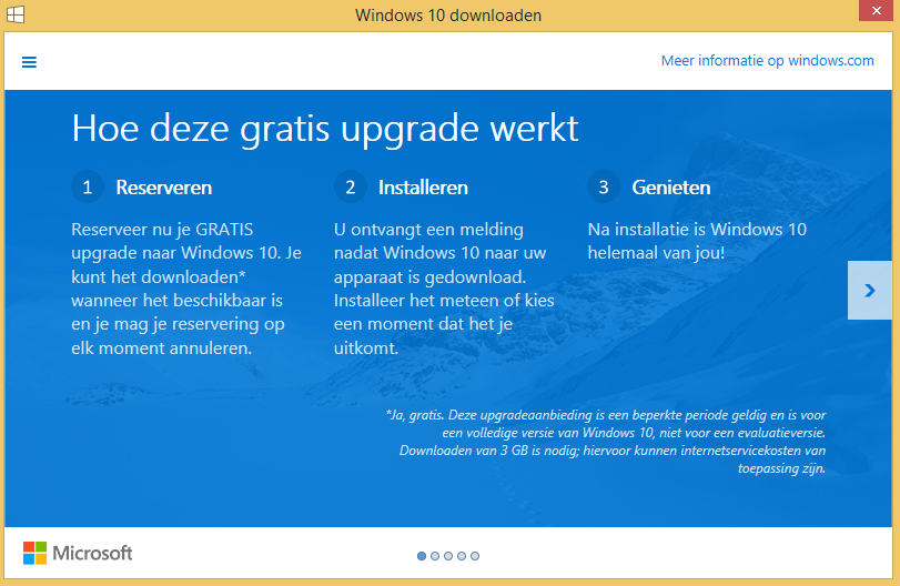 windows 10 reserveren